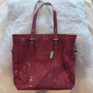 Vintage pink latex-like coach bag